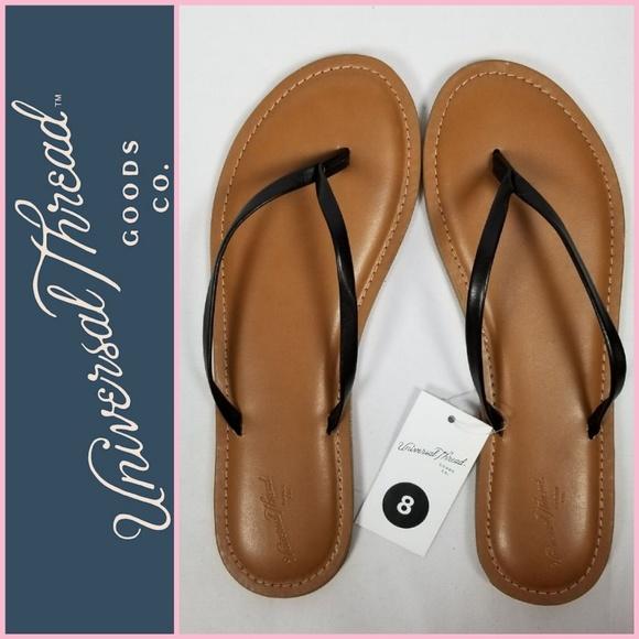 Women/'s Flip Flops New Size 9 Black Rowen Flat Universal Thread